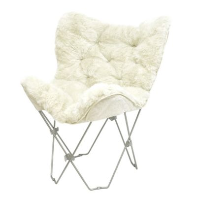 Mongolian Fur Butterfly Chair in White