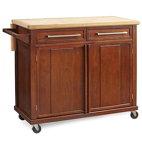 real simple rolling kitchen island in walnut bed bath