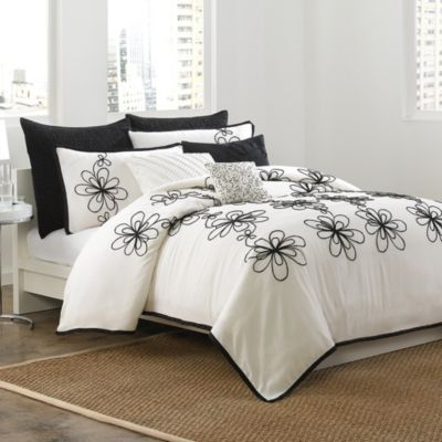 DKNY Metro Floral King Duvet Cover in Vanilla/Black