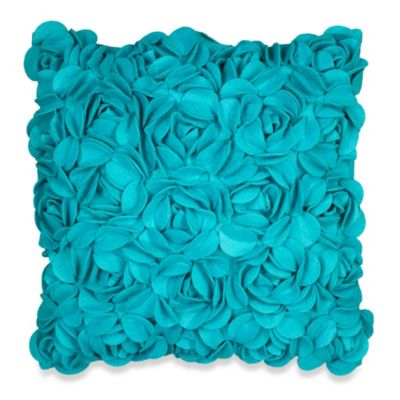 KAS® Luella 3D Flower Square Toss Pillow in Teal