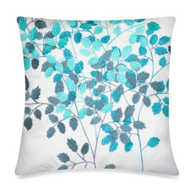 KAS® Luella Teal Night Garden Square Throw Pillow in White