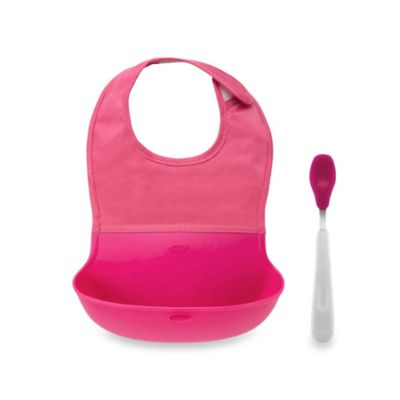 OXO Tot® Roll Up Bib and Spoon Set in Pink