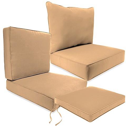 Outdoor Seat Cushion Collection In Sunbrella Canvas Camel Bed Bath B