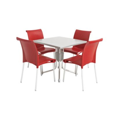 Nardi Regina 5-Piece Outdoor Dining Table and Chair Set in Red