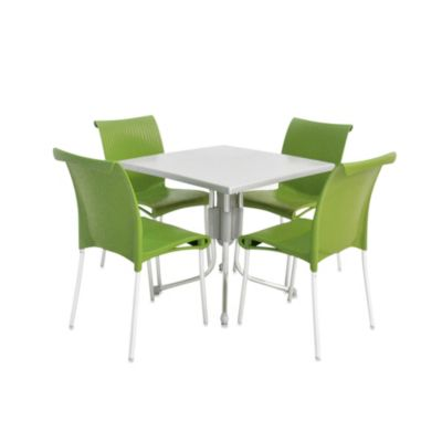 Nardi Regina 5-Piece Dining Table and Chair Set in Apple Green