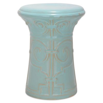 Safavieh Imperial Scroll Garden Stool in Aqua