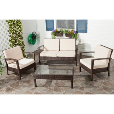 Safavieh Piscataway 4-Piece Conversation Set in Brown/Yellow