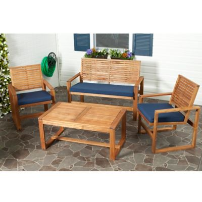 Safavieh Ozark 4-Piece Conversation Set in Brown/Yellow