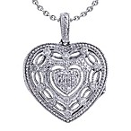 Ze Sterling Silver, 0.20 cttw Diamond Locket