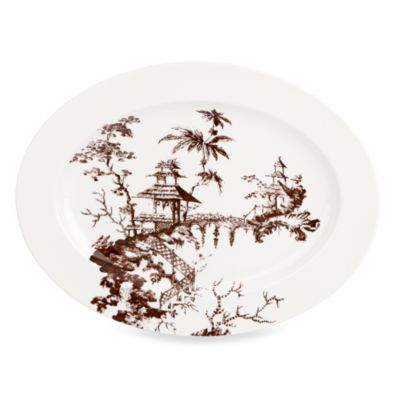 Scalamandre by Lenox® Toile Tale 16-Inch Oval Platter in Chocolate