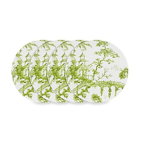 Scalamandre by Lenox® Toile Tale Chartreuse 9-Inch Accent Plates (Set of 4)