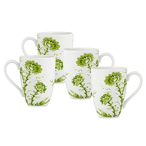 Scalamandre by Lenox® Toile Tale Chartreuse 16-Ounce Mugs (Set of 4)