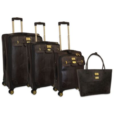Adrienne Vittadini 4-Piece Lux Lizard Luggage Set