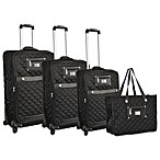 Adrienne Vittadini 4-Piece Quilted Nylon Luggage Set