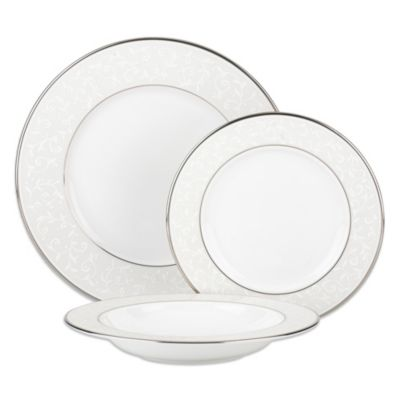 Lenox® Opal Innocence™ 3-Piece Place Setting with Rim Soup Bowl in White