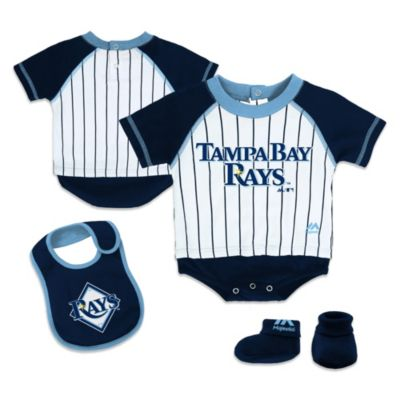 MLB® Size 0-3M Tampa Bay Rays Creeper, Bib and Bootie Set by adidas®