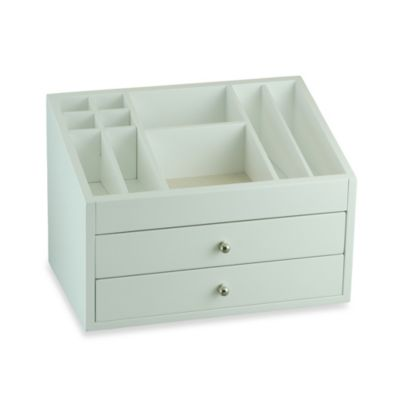 Cosmetic Wooden Jewelry Box in White