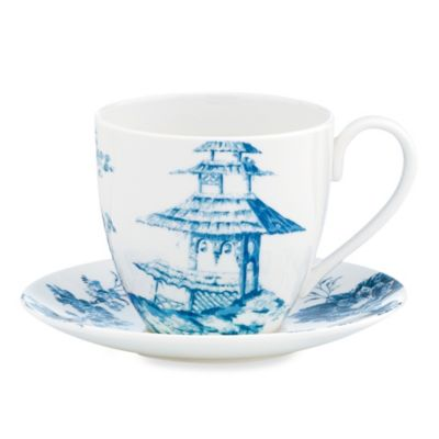Scalamandre by Lenox® Toile Tale Sky Blue 10-Ounce Cup and 6-Inch Saucer Set