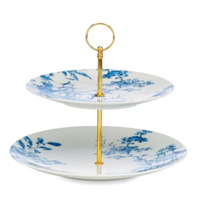 Scalamandre by Lenox® Toile Tale Sky Blue 11.5-Inch Two-Tier Server