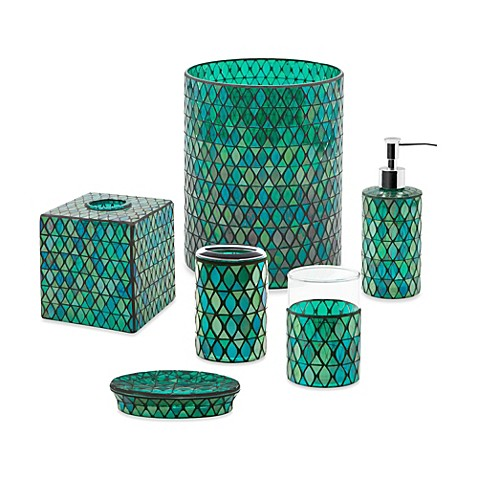 Emerald bathroom accessories bed bath beyond for Blue mosaic bathroom accessories