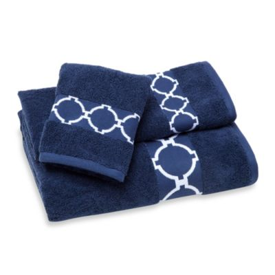 Jill Rosenwald Hampton Links Fingertip Towel in Navy/White