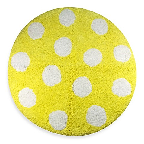 Classic Shabby Chic Bathroom Yellow White Polka Dot Bath Rug Mat 100 Cotton