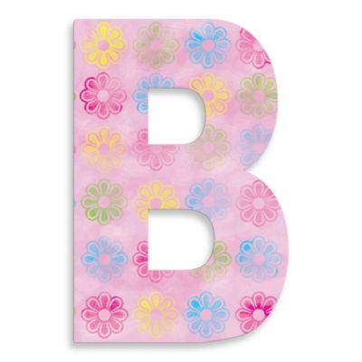 "Stupell Industries Modern Flower 18-Inch Hanging Letter ""B"" in Pink"
