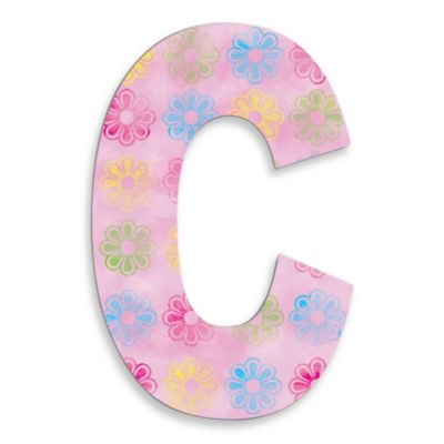 "Stupell Industries Modern Flower 18-Inch Hanging Letter ""C"" in Pink"