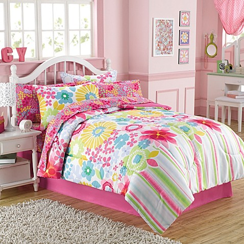 Bouquet 6 8 piece comforter and sheet set bed bath beyond - Bed bath and beyond bedroom furniture ...