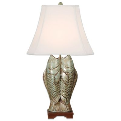 Emissary Ceramic Double Fish Table Lamp in Ice Blue