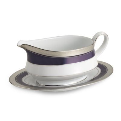 Crestwood Cobalt Platinum 2-Piece 16-Ounce Gravy Boat with Matching Tray