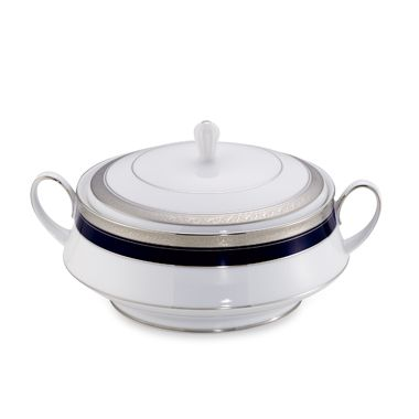 Noritake® Crestwood Cobalt Platinum 42-Ounce Covered Vegetable Dish