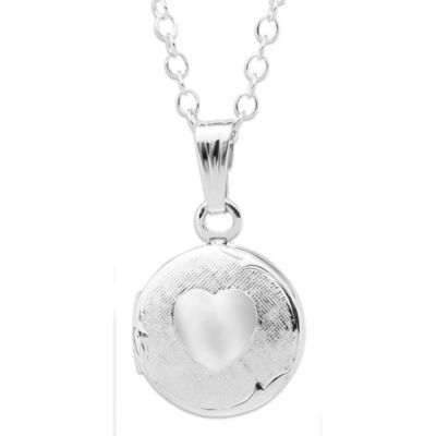 Precious Things Children's Sterling Silver Heart-Embossed Round Locket