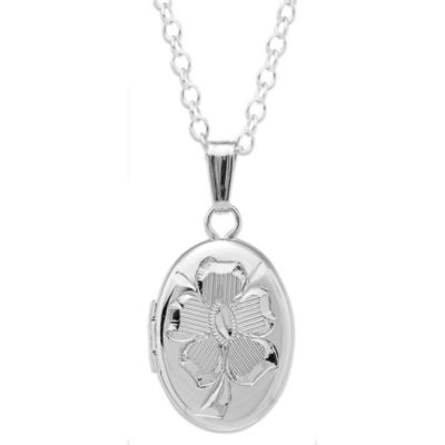 Children's Sterling Silver Engraved Oval Locket