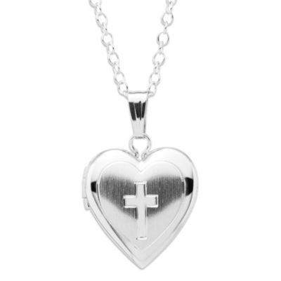 Precious Things Children's Sterling Silver Heart-Shaped Cross Locket