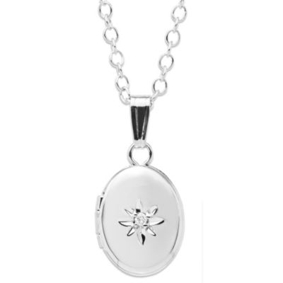 Precious Things Children's Sterling Silver Oval .01 cttw Diamond Locket