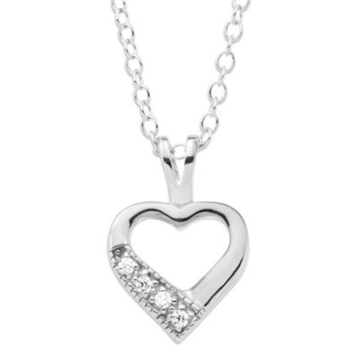 Precious Things Children's Sterling Silver Cubic Zirconia Open Heart Necklace