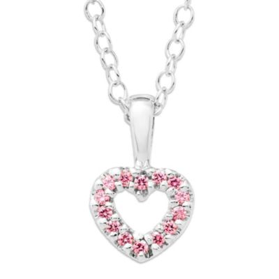 Precious Things Children's Sterling Silver Pink Cubic Zirconia Open Heart Pendant