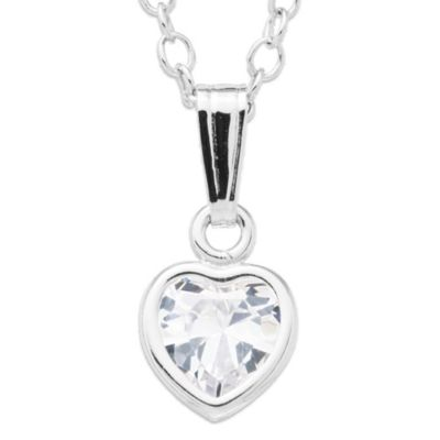 Children's Sterling Silver Cubic Zirconia Heart Pendant