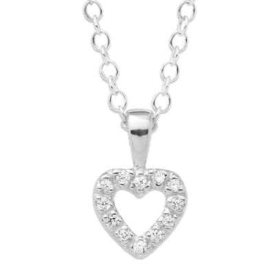 Precious Things Children's Sterling Silver Cubic Zirconia Open Heart Pendant