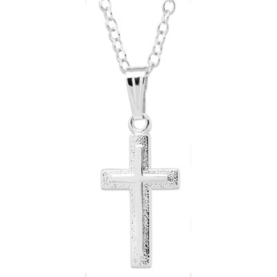 Precious Things Children's Sterling Silver Embossed Cross Pendant