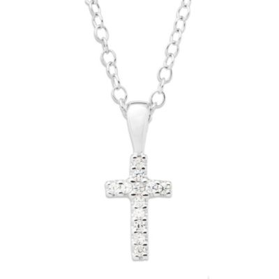 Precious Things Children's Sterling Silver Cubic Zirconia Cross Pendant