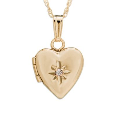 Precious Things Baby 14K Gold Heart .01 cttw Diamond Locket