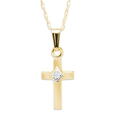 Precious Things Children's 14K Gold .01 cttw Diamond Cross Pendant