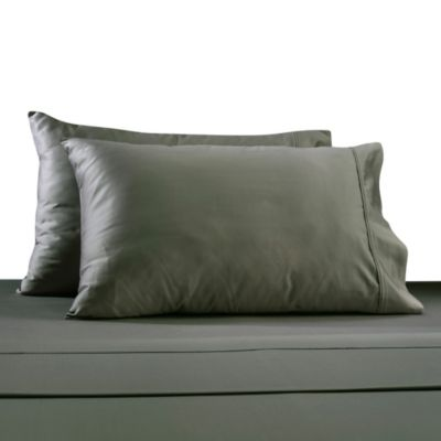 330-Thread Count 100% Cotton Sateen Full Sheet Set in Grey