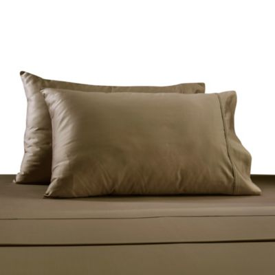 330-Thread Count 100% Cotton Sateen Twin Sheet Set in Taupe