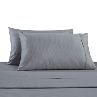 330-Thread Count 100% Cotton Sateen Queen Sheet Set in Grey Dot