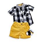 Petit Lem™ 3-Piece Mr. Hipster Plaid Shirt & Solid Shorts with Socks Set