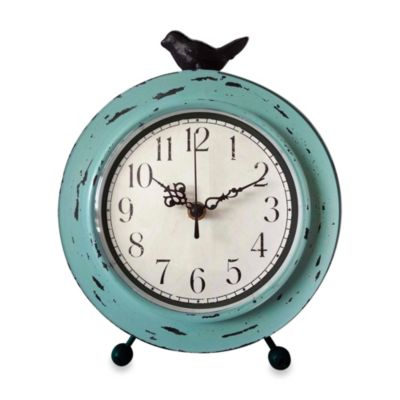 Table Clock with Bird in Aqua