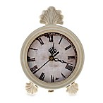White Table Clock with Finial